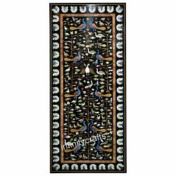30 X 72 Inches Black Marble Patio Dining Table Top Peacock Design Lawn Table