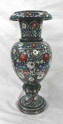 21 Inches Marble Flower Planter Inlay Green Flower Pot With Multi Color Stones