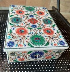 7 X 5 X 2.4 Inches Collectible Box White Brooches Box Inlay With Cottage Art