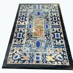 30 X 60 Inches Black Lawn Table Top Marble Inlay Dining Table With Unique Design