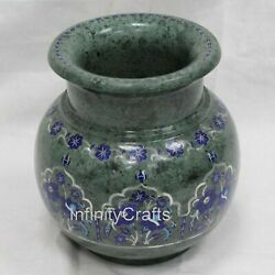 7 Inches Green Inlay Home And Office Decor Vase Marble Flower Pot Unique Design
