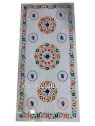 30 X 72 Inches White Marble Dining Table With Pietra Dura Art Office Table