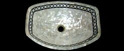 Mother Of Pearl Inlaid Marble Vessel Mosaic Art White Kitchen Sink 24 X 19 Inch