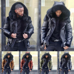 Fashion Menand039s Warm Fur Lined Army Hoodes Jacket Winter Casual Parka Outwear Coat