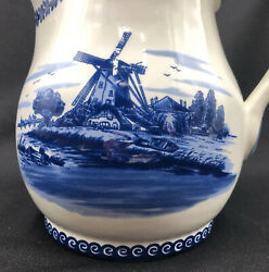 Hand Painted Holland Blue Delft Large Cow Figural Jug 494d