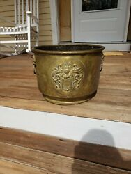 Antique Bucket Brass Lion Handles Large Knight Antler Coat Of Arms