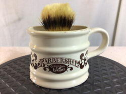 Vtg Barbershop Old Fashioned Luxury Shaving Mug And Brush Made In Chile Pre-owned