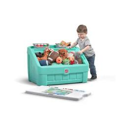 New Large 2 In 1 Toy Chest Box Art Lid Storage Organizer Plastic Kids Girl Mint
