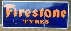 Nice Old Firestone Tyres Enamel Porcelain Sign From Late 1930and039s. 6 Ft