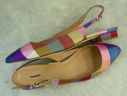 New J. Crew Retail 248 Lucie Printed Flat Slingbacks Multi-color Sz. 9.5 Italy