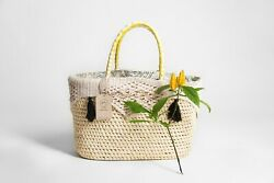 NATURAL PALM BASKET XL MARKET AND BEACH BAG STRAW TOTE BAG WITH COTTON INTERIOR $98.23