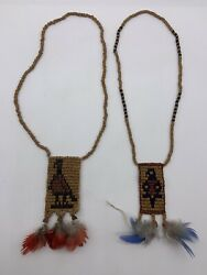 Vintage Handmade Native American Beaded Necklaces Set Of Two Feathered
