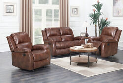 Venture Brown Recliner Leather Aire Manual 3 Positioning Reclining Sofa Suite