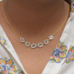 Slice Diamond Pave Pendant Solid 18k Yellow Gold Necklace Christmas Gift Jewelry