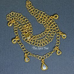 18k Solid Yellow Gold Rose Cut Diamond Charm Pendant Necklace 14-16-18 Inch