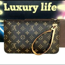 Louis Vuitton Monogram Neverfull MM GM WRISTLET pouch CLUTCH women PURSE $499.00