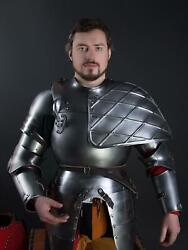 Medieval Knight Cuirass With Large Left Pauldron Viking Bracers And Elbow Caps
