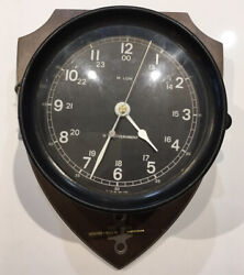 Working Wwii U.s. Government Navy Military Bakelite Porthole Ship Clock M. Low