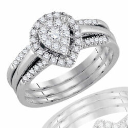 0.50ct Round Real Diamond Pear Shape Bridal Engagement Ring Solid 14k White Gold