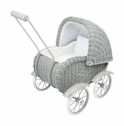 Small Foot Wooden Toys Baby Doll Grey Vintage Wicker Pram Designed For Childr...