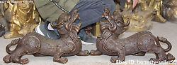 20 China Pure Bronze Carving Wealth Money Pixiu Brave Troops Animal Pair Statue