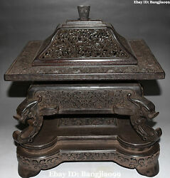 15 Chinese Ebony Wood Carving Dragon Loong Jewelry Box Case Boxes Casket Statue