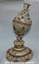 17 Rare Chinese Old Silver Filigree Inlay Gem Conch Shell Trumpet Horn Statue
