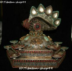 Old Tibet Silver Filigree Gold Gems Natural Crystal Conch Trumpet Shell Statue