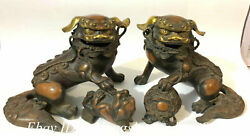 22cm Chinese Brass Gilt Carving Fengshui Foo Fu Dog Guardion Lion Statue Pair