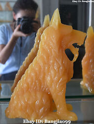 12 Chinese Natural Yellow Jade Hand Carving Wolf Wolves Dog Dogs Animal Statue