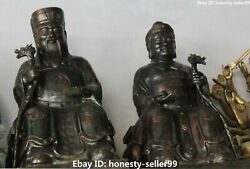 24old Bronze Wealth Land Grandfather Grandmother God Couples Pair Dragon Crutch