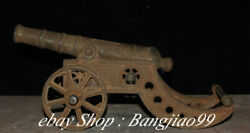 15 Old Antique Chinese Iron Dynasty Palace Word Wheel Cannon Artillery Statue