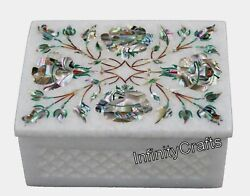 4 X 3 Inch Marble Watch Box Inlaid With Abalone Shell Trinket Box Filigree Work
