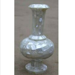 10 Inch Marble Decor Vase Mother Of Pearl Overlay Work Flower Pot For Christmas