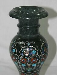 14 Inch Christmas Flower Pot With Gemstone Inlay Work Marble Vase For Home Decor