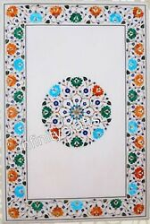 18 X 24 Inches Marble Sofa Table Top Wall Panel With Multi Semi Precious Stones