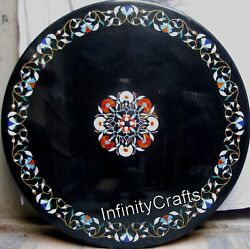 Black Marble Sofa Table Top Antique Work With Gemstones Coffee Table 42 Inches