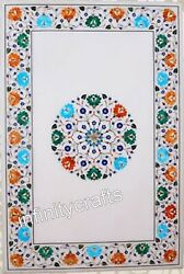 24 X 48 Inch Wall Panel Marble Dinning Table Top Butterfly Design With Gemstones