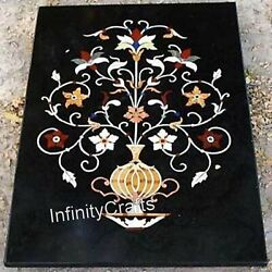 Flower Pot Design Inlaid Coffee Table Top Black Sofa Table Size 36 X 48 Inches