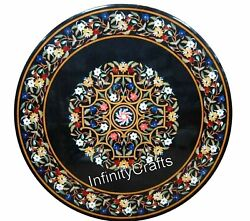 36 X 36 Inches Black Marble Lawn Table Top Round Patio Sofa Table Inlay Work