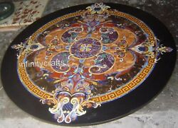48 Inch Marble Stone Table Top Round Dining Table Inlay Work Perfect Home Assets
