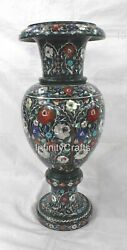 21 Inches Marble Pot With Semi Precious Stone Inlay Work Flower Vase For Home