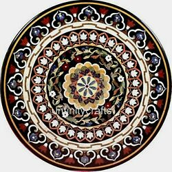 48 Inch Marble Stone Work Sofa Table Top Round Dining Table Perfect Home Assets