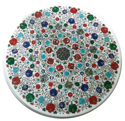 40 Inch Marble Office Table Top Round Shape Coffee Table With Multi Color Stones