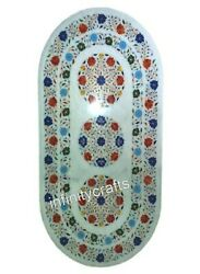Gemstones Inlaid Beautiful Coffee Table Top Oval Dining Table 36 X 48 Inches