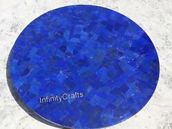 42 Inches Marble Lawn Table Round Coffee Table Top With Lapis Lazuli Stones