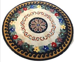 48 Inches Marble Coffee Table Stone Reception Table Inlay With Vintage Crafts