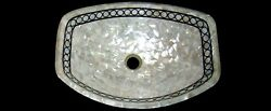 24 X 19 Inch Marble Sink With Mother Of Pearl Random Work Kitchen Sink For Home