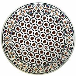 Vintage Crafts Inlaid Marble Gander Table Top Round Shape Dining Table 40 Inches