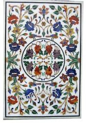 36 X 60 Inches White Living Room Table Top Beautiful Design Inlaid Coffee Table
